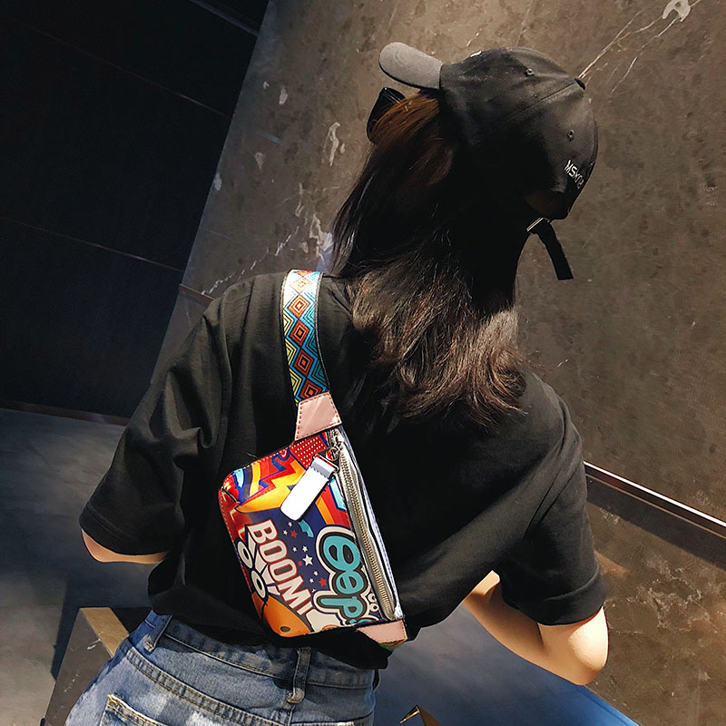 Colorful Women Waist Bags Fanny Pack Belt Bags Graffiti Chest Handbag Hip Purse Waist Packs Multi-function Chest Bag 2018 new belt bag women waist bag white waist fanny pack luxury brand leather chest handbag lady s belt bags 2018 shoulder bags purse