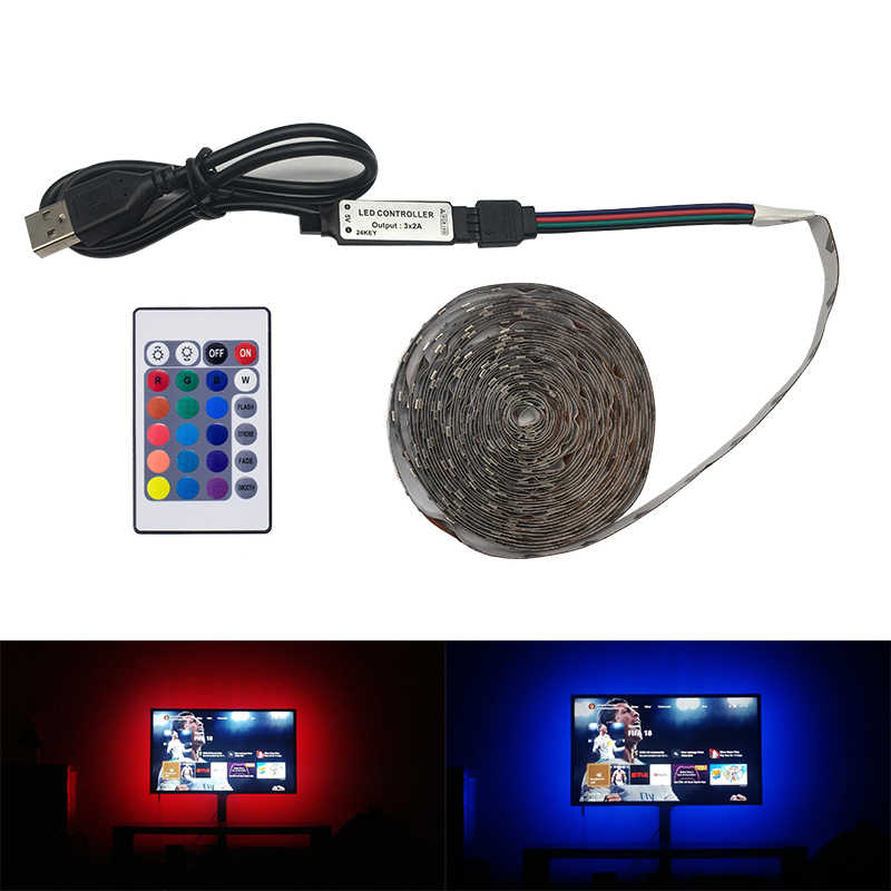 DC 5 V/6 V USB LED Strip SMD 3528 RGB Flexible Lampu LED Strip Lampu Latar Belakang TV pencahayaan Pita Perekat 1 M 2 M 3 M 5 M