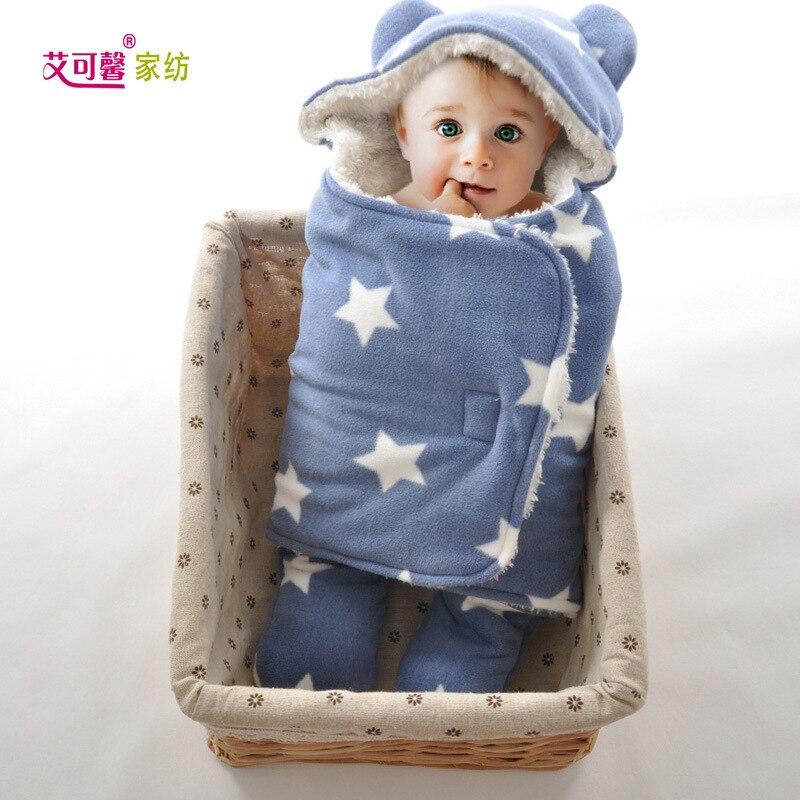Newborn Blanket Sleeping Bag Baby Double Layer Full Print Swabbie Plush Blanket