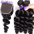 Malaysian Loose Wave With Closure 4 bundles with closure Unprocessed Human Hair Weave 7A Malaysian Virgin Hair With Closure #1B