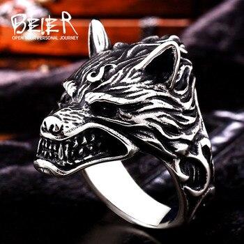 Beier 316L acier inoxydable nez viking loup tête animal pour homme Unique prix de gros bijoux LR160 7
