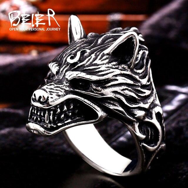 Beier 316L acier inoxydable nez viking loup tête animal pour homme Unique prix de gros bijoux LR160 2