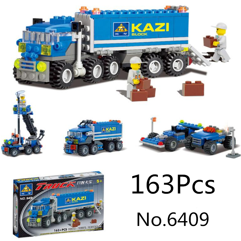 KAZI Enlighten 6409 163 Pcs Truck Building Blocks City Car DIY Bricks Educational Building Toys Compatible With legos City