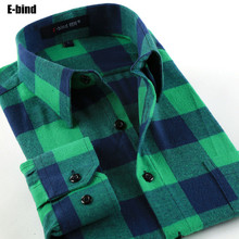 E bind DTFx 2016 Fashion Men Long Sleeve Plaid Casual Shirt Slim fit Checkered Shirts Male