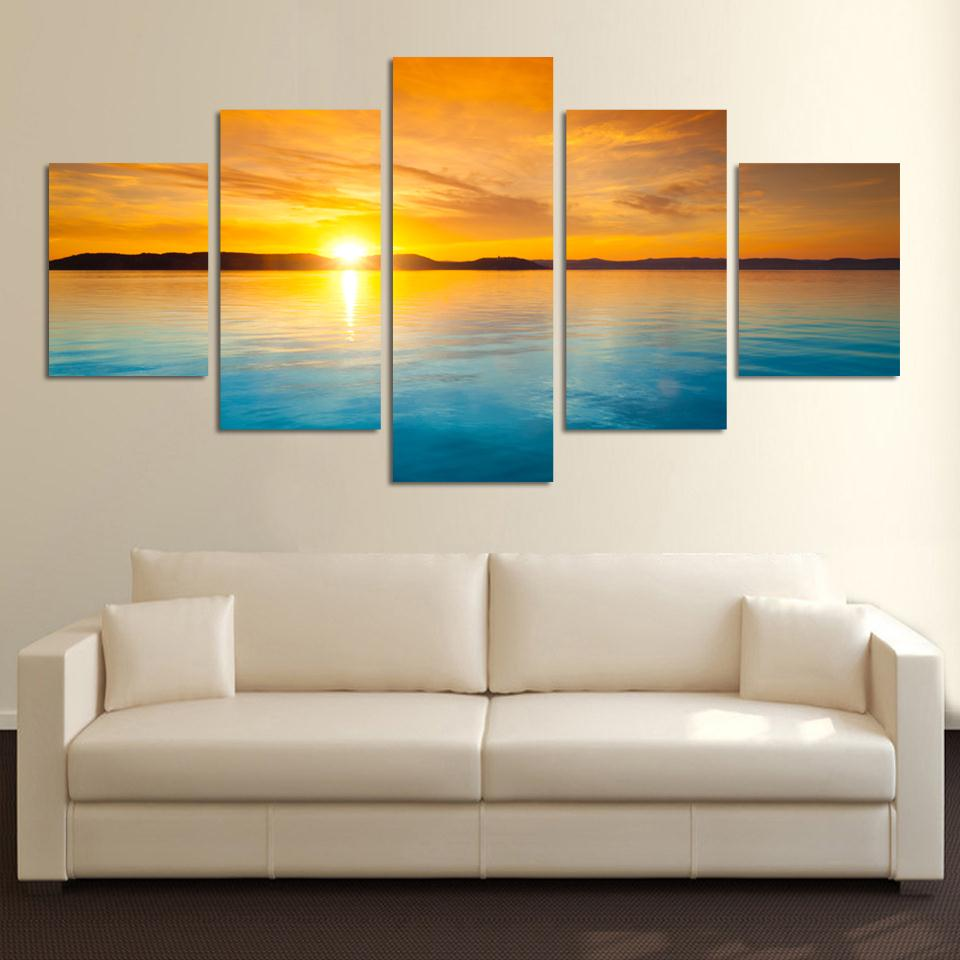 5 Pieces Landscape Canvas Painting Blue Sea and sunset HD large