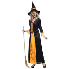 Adult Black Orange Gothic Witch Sorceress Cosplay Costume for Women Fantasia Halloween Carnival Mardi Gras Party Dress W-0028