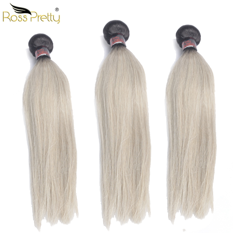 Ross Pretty Ombre Color 1b Grey Brazilian Hair Straight Human Hair Extension lengths 10- ...