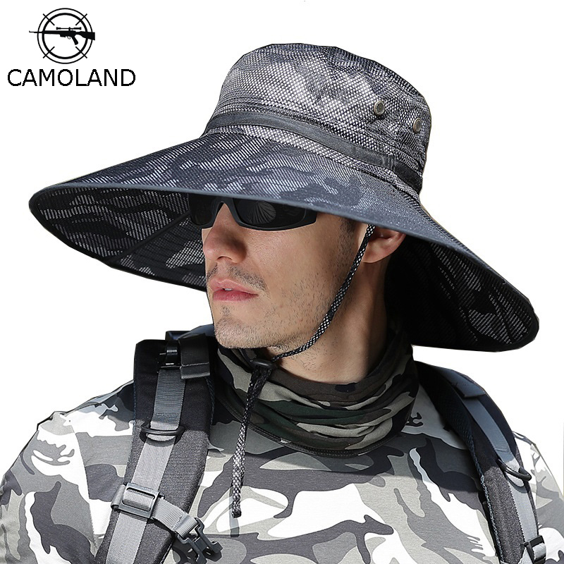 CAMOLAND Camouflage Bucket Hats For Mens UPF 50+ Summer Sun Hat Casual Male Outdoor Fishing Hat Long Wide Brim Boonie Cap