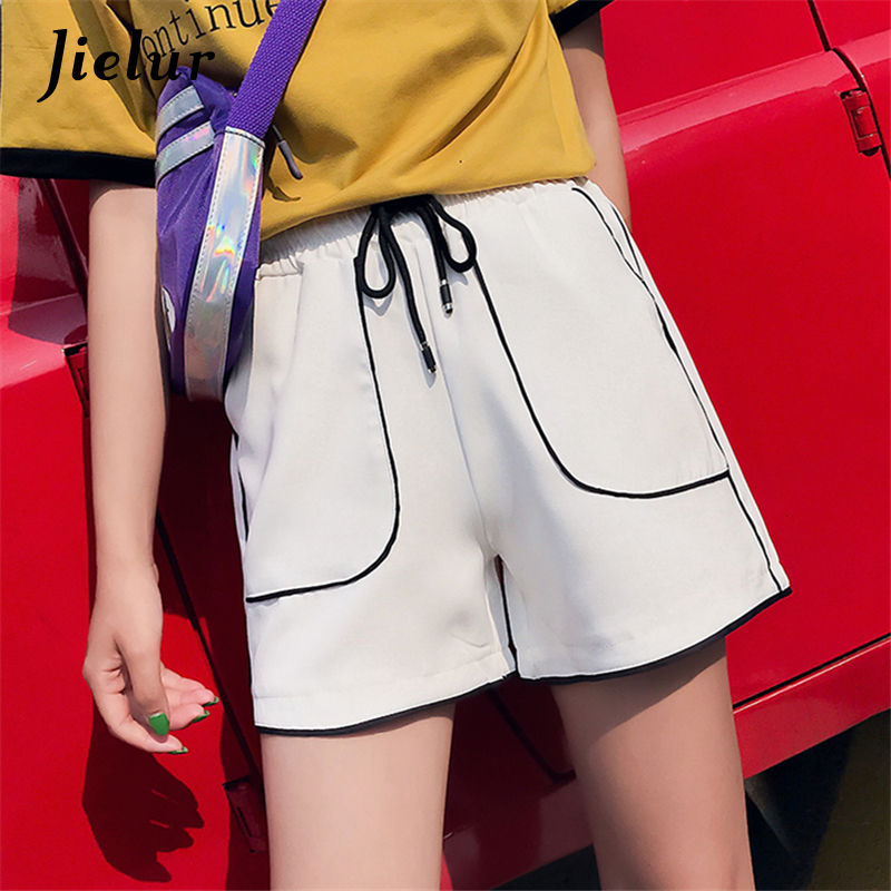Jielur Korean Chic Summer Shorts For Women Street Loose Fitness Short Feminino Drawstring Striped Pockets Wide Leg Shorts M-XXL