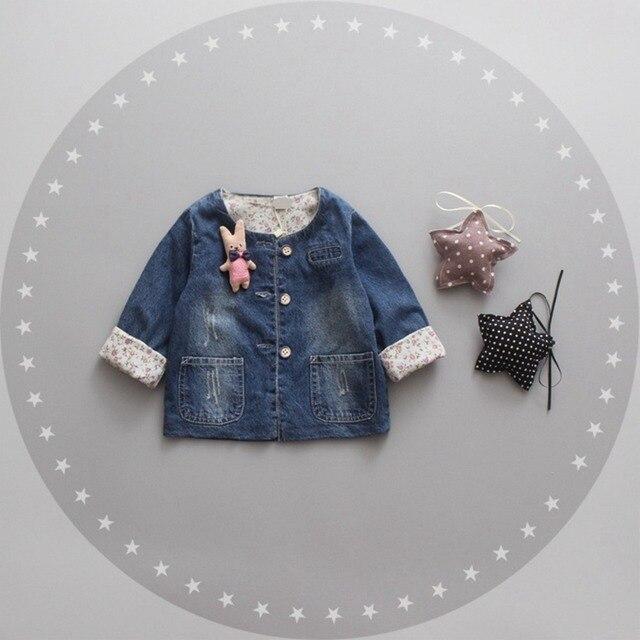 Мода Осень Дети Вскользь Девушки Детские Младенцы Промывают Джинсы Верхняя Одежда Кардиган Куртки Пальто Принцесса Пальто Casaco MT899
