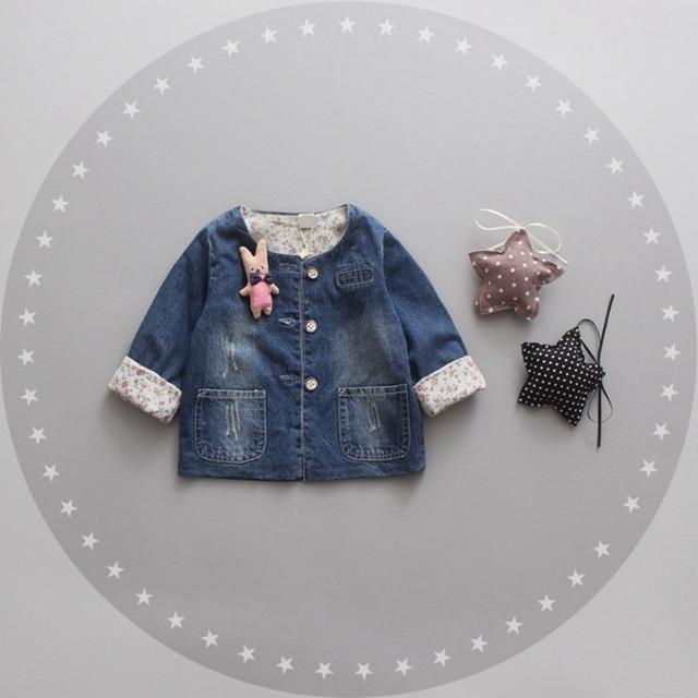 Moda Otoño de Los Niños Niñas Bebé Niños Vaqueros Lavados de Mezclilla prendas de Vestir Exteriores Ocasional Capa de la Rebeca de la Princesa Chaqueta de Abrigo Casaco MT899