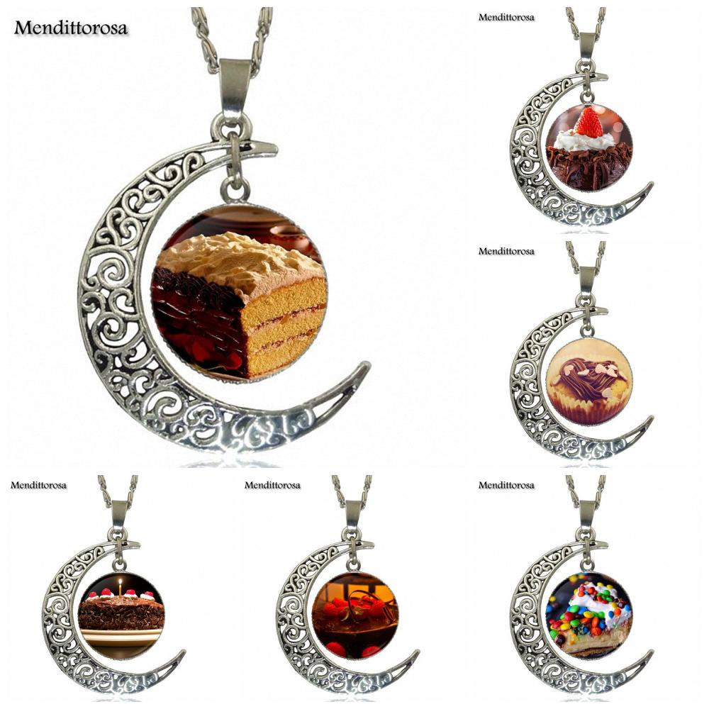 EJ Glaze For Unisex Gift Chocolate Cake Jewelry With Silver Plated Glass Cabochon Crescent Moon Choker Long Pendant Necklace