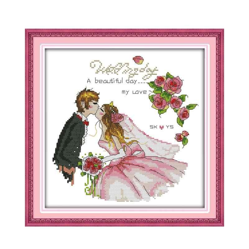 Романтика, свадьба, невеста и жених счастливый поцелуй DMC вышивка нить 14CT мебель шитье декоративные вышивки крестом картина