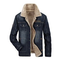 Military Autumn Winter Jackets Men Brand AFS JEEP Denim Jacket Retro Embroidery Thick Warm Fleece Jacket