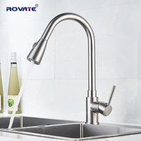 ROVATE Kitchen Faucet Pull Down Nickel Sink Faucet Spray Cold and Hot Sink Mixer Tap