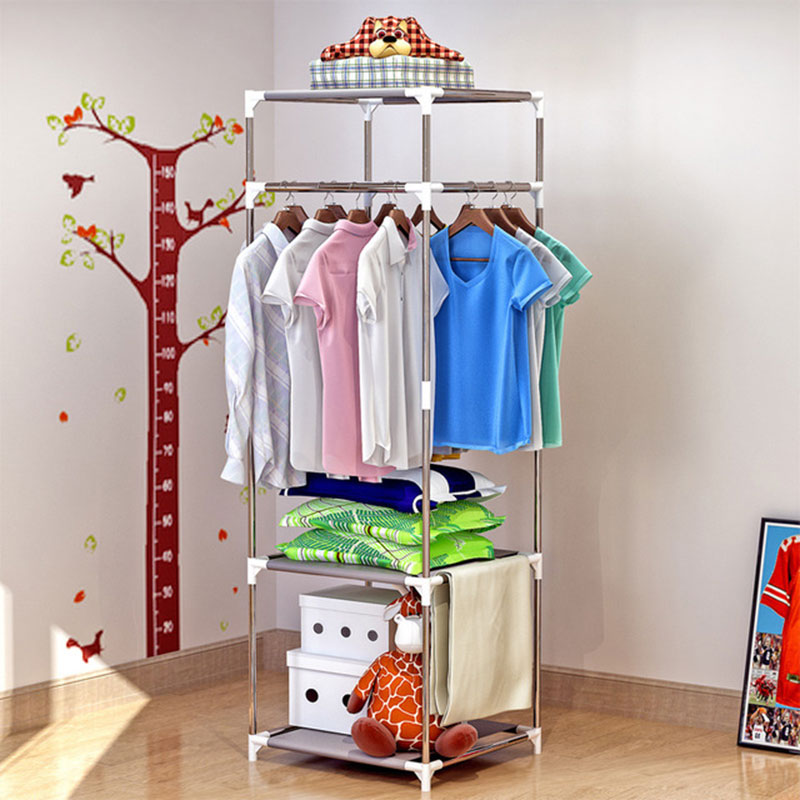 Simple Floor Stand Drying Rack Household Finishing Bedroom Clothing Hanging Rack Creative Coat Rack Home Furniture