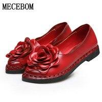 2017 Vintage Handmade Folk Style Women Flats Casual Shoes Genuine Leather Lady National Soft Bottom Shoes