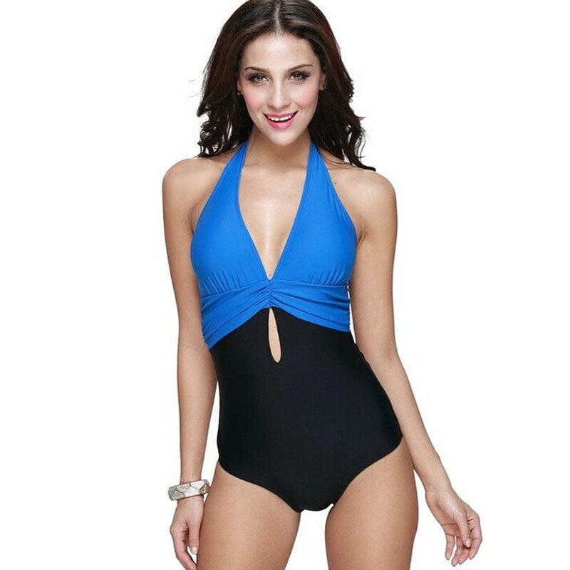 2016 New Patchwork Sexy Top Halter Neck Swimsuit High Waist One Piece Swimwear Women One-Piece Vintage Bathing Suit Monokini