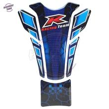 3D Blue Motorcycle Sticker R Racing Team Gas Fuel Tank Protector Pad Cover Decal Case for Honda Harley Yamaha Suzuki Kawasaki