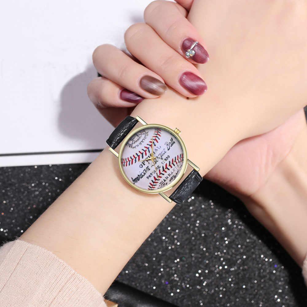 נשים שעונים קוורץ שעוני יד בציר בייסבול עור שעון גבירותיי אופנה תלמיד חג המולד מתנה Dropship Montre Femme