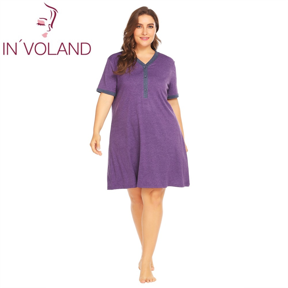 INVOLAND Women Sleepwear Dress Plus Size XL-5XL Summer Loose Nightgowns Maternity Breastfeeding Nightwear Dresses Sleepshirts