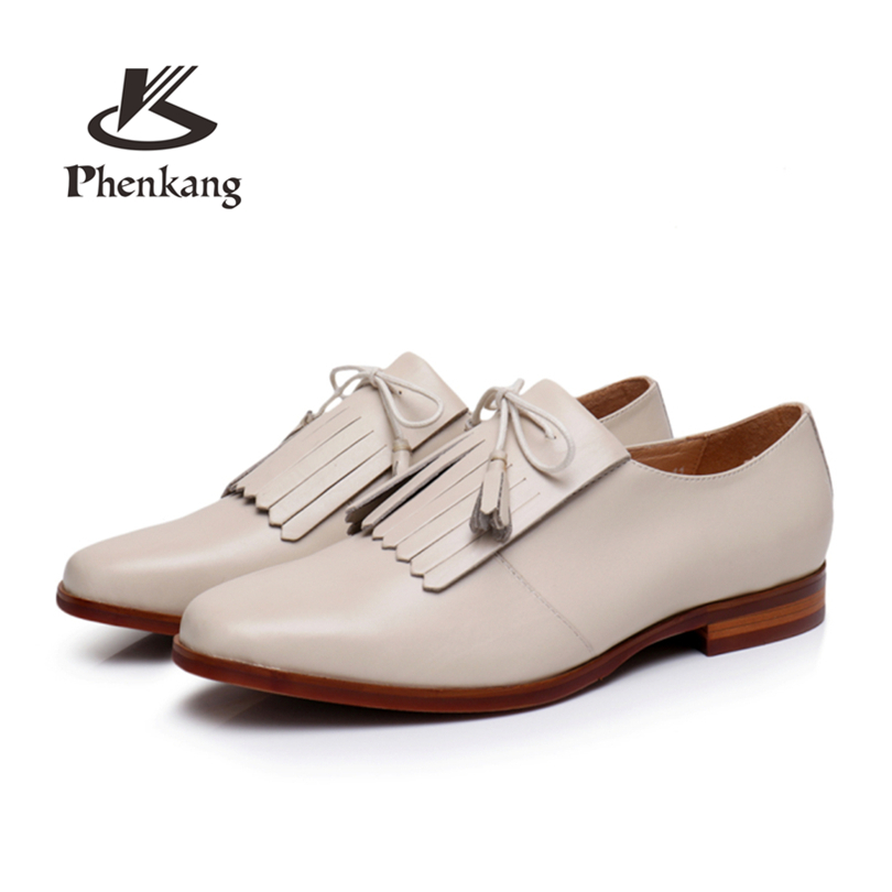 Phenkang Genuine Leather summer tassel brogues shoes Yinzo Women lace up Sheepskin Flats Lady Shoes Handmade woman sneakers instantarts cactus flowers print women summer mesh flat shoes plant design lace up sneakers for lady mujer lightweight flats