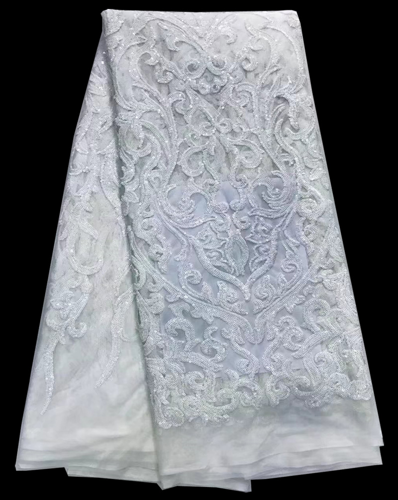 Free shipping (5yards/pc) pure white African sequins lace fabric 2017 latest French net lace with embroidey for wedding FNS89Free shipping (5yards/pc) pure white African sequins lace fabric 2017 latest French net lace with embroidey for wedding FNS89