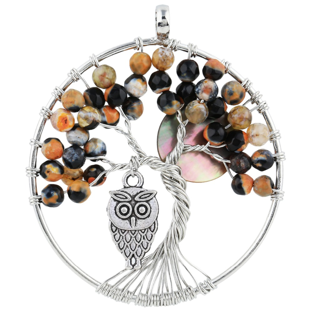 SUNYIK Orange & Black Onyx Tree of Life Owl Full Moon Abalone Shell Pendant Handmade Jewelry