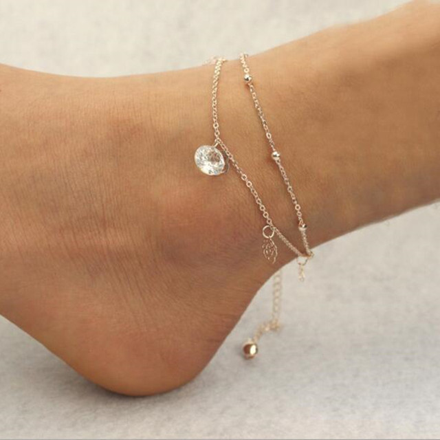 Simple Rose Gold Ankle Bracelet Flower Bells Beads Multi Layering Sandals Foot Jewelry Zircon Anklets For