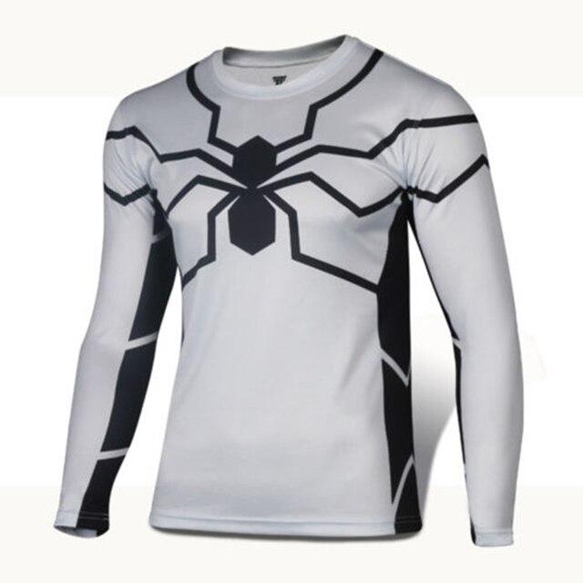 1d47911a The Superior Spider Man Tight Running Long Sleeve T-Shirt Black Venom Tops  Sports Training Gym Fitness Running Jersey