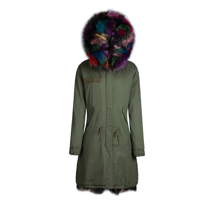 high quality real colorful fox fur jacket outerwear in cold winter with raccoon fur collar hood parka coats