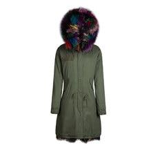 Высокое качество реального красочные лисий мех куртки верхняя одежда в холодную зиму с енота меховым воротником гуд куртка пальто