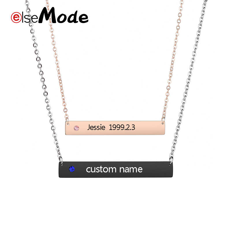 ELSEMODE  Personalized Lover Zircon Bar Necklace Personalize Engraved Stainless Steel Name Date Necklace Rose Gold Black Color