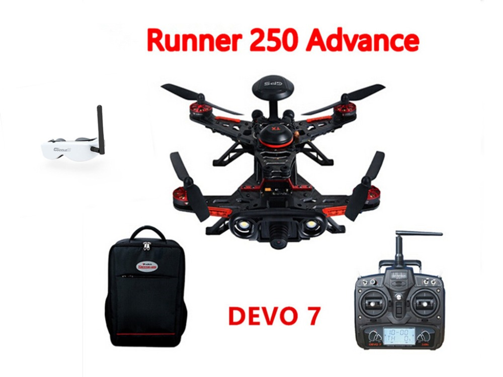 F16183 Walkera Runner 250 Advance GPS System Racer RC Drone Quadcopter RTF with DEVO 7 Transmitter OSD Camera GPS Goggle 2 датчики