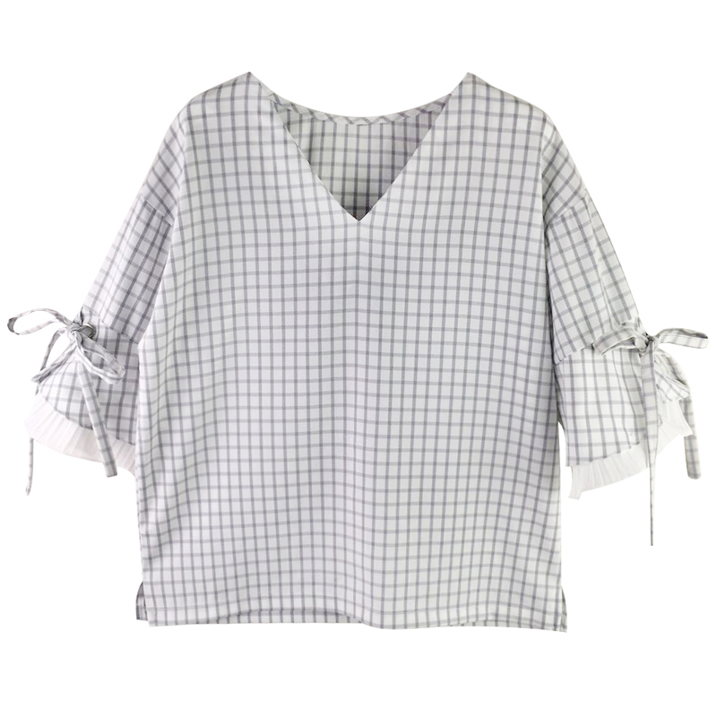 Nuevas camisas de las mujeres flare mino de manga con cuello en v estilo japonés