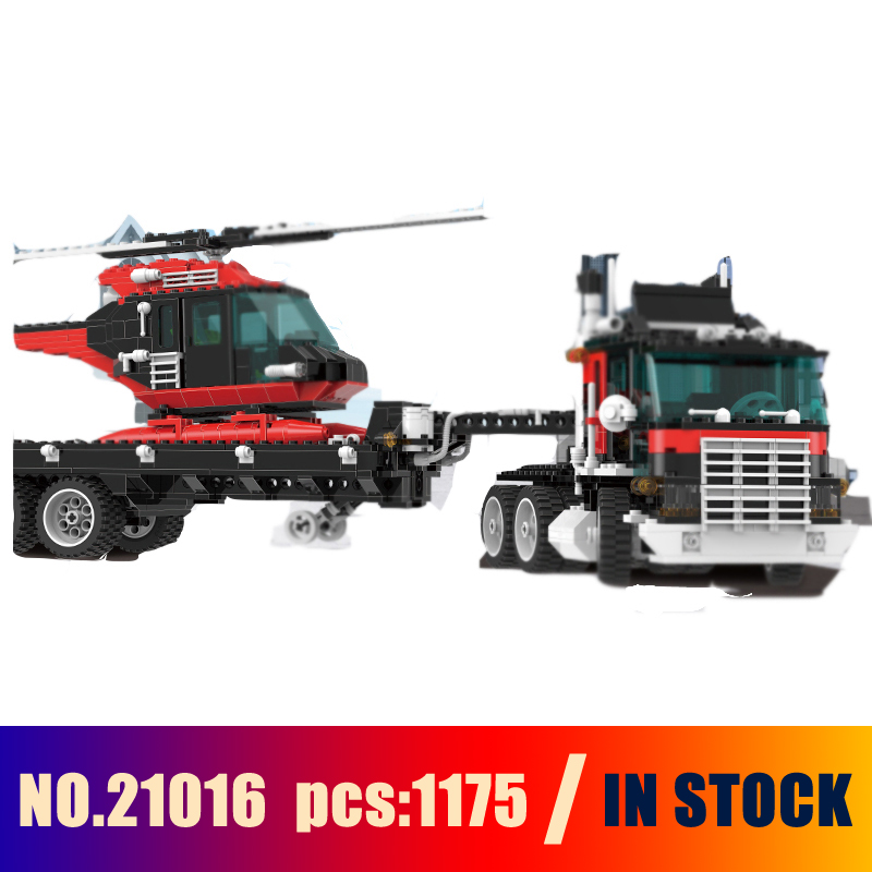 Models Building Toy Truck Trailer with Helicopter 1175pcs 21016 Building Blocks Compatible Lego Technic 5590 Toys & Hobbies compatible with lego ninja 70596 models building toy 10530 1307pcs base home samurai x cueva building blocks toys