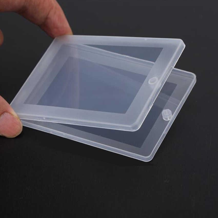 1 قطعة المحمولة صغيرة رقيقة بلاستيكية شفافة مع غطاء جمع الحاويات صندوق تخزين من الألومنيوم ل بطاقة ، البنك بطاقة ، ورقة منشفة