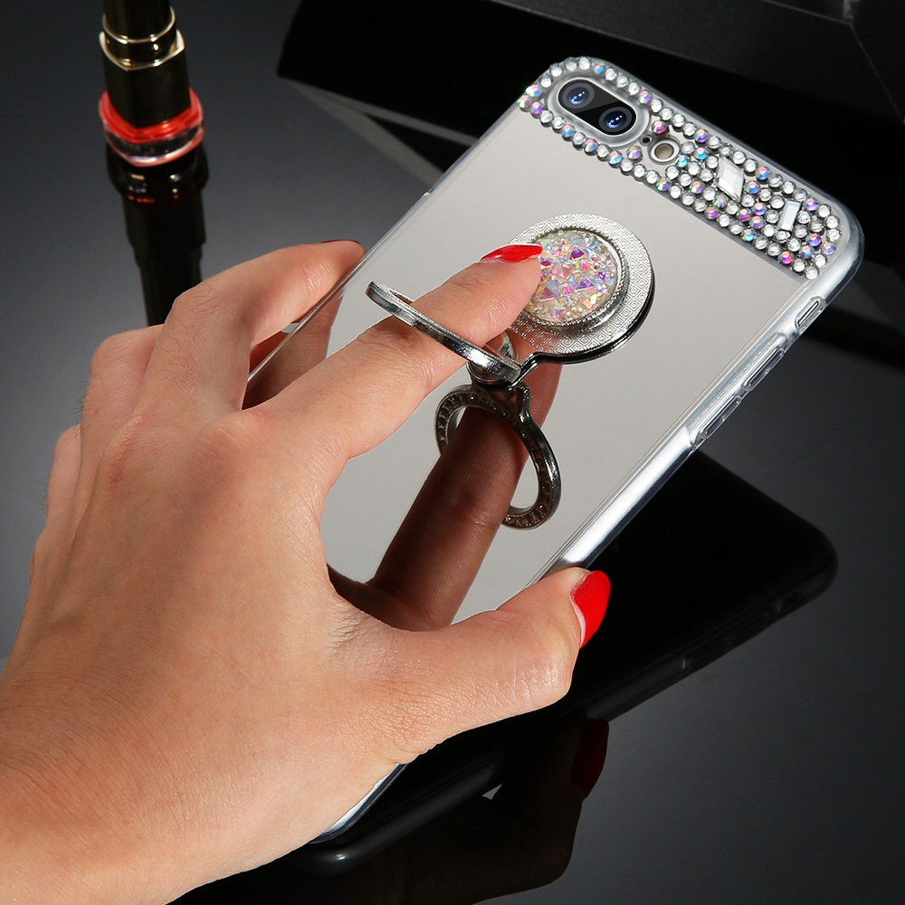 Diamond Mirror Cases For iPhone 11 Pro Max 6S 6 7 8 Plus X XR XS MAX Case Finger Ring Holder Coque For iPhone XR 5S SE in Rhinestone Cases from Cellphones Telecommunications
