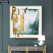 Creative ink painting green abstract gold foil decorative Modern living room Zen porch