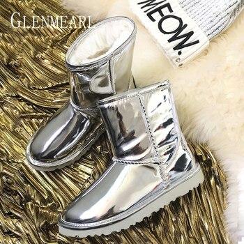 Las mujeres nieve botas de invierno zapatos de piel botas de plata de botas de mujer resbalón en los zapatos ocasionales de las señoras más tamaño zapato DE