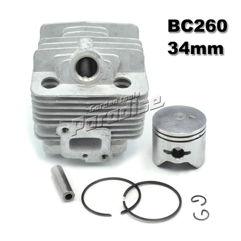 BC260 26CC Brush Cutter Cylinder Kit with Piston Assy Piston Ring for CG260 Grass Trimmer 1E34F 34MM Engine Parts женщины  мужчины элегантная классика