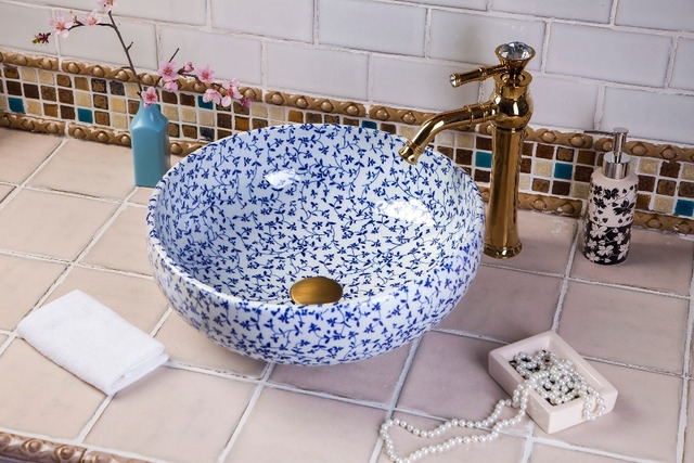 Bue And White Chinese Jingdezhen Art Counter Top Ceramic Wash Basin Designs For Dining Room
