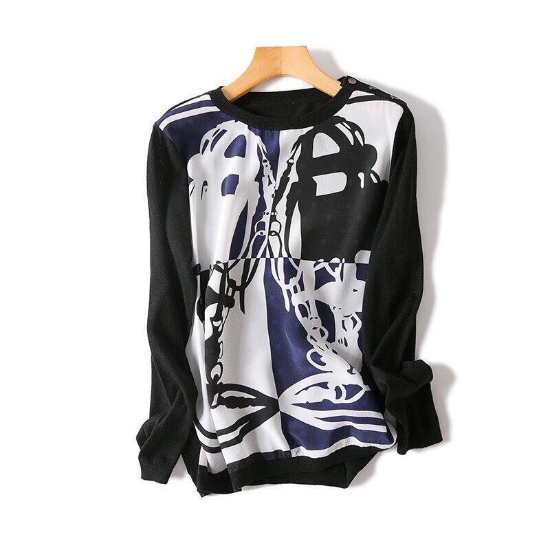 Casual Femmes Et Haute Longues Pull 2018 Imprimer De Wear Arrivée Automne Nouvelle Manches Knit Soie D'hiver Rétro Qualité qOOR4S6