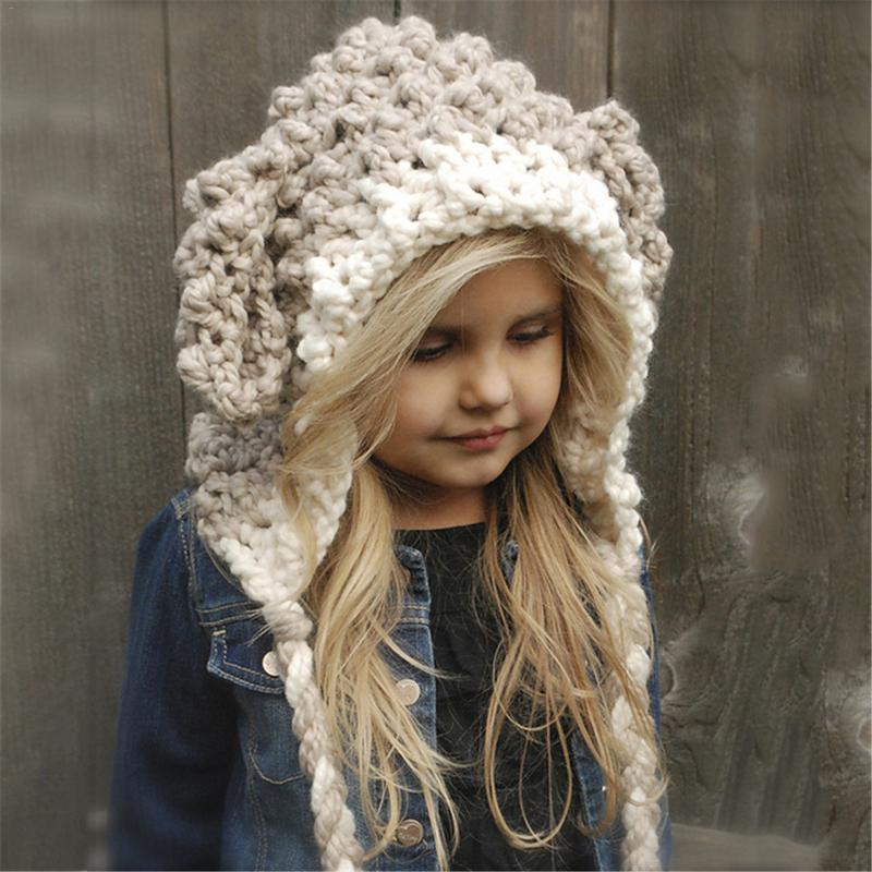 Winter Girls Hat And Scarf Set Knitted Unicorn Hat Hooded Scarf Set Toddler  Girl Boy Warm Cap-in Scarf b87d24885af