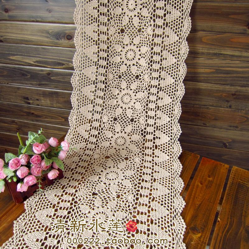 Aliexpress.com : Buy Free Shipping White Biege Rectangle Crochet Hook Cotton  Flowers Lace Table Runner For Wedding Table Overlay Vintage Cutout From ...