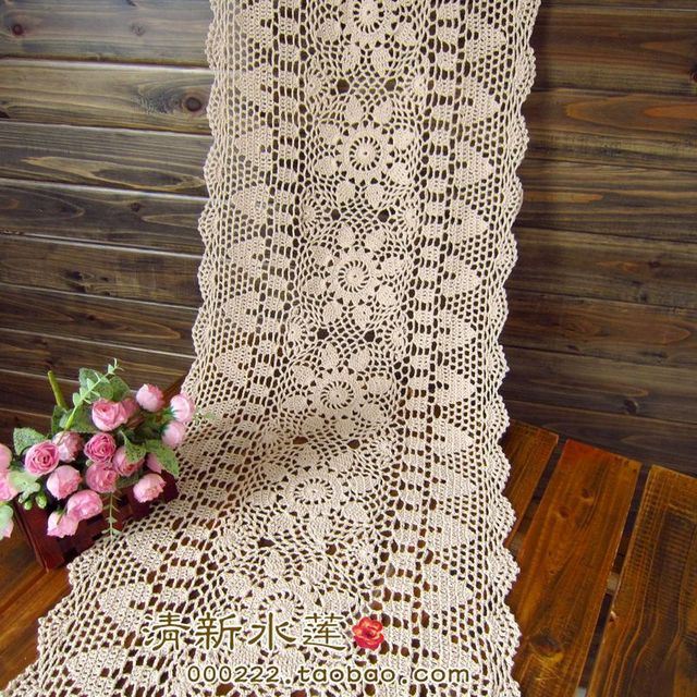 Free Shipping White Biege Rectangle Crochet Hook Cotton Flowers Lace