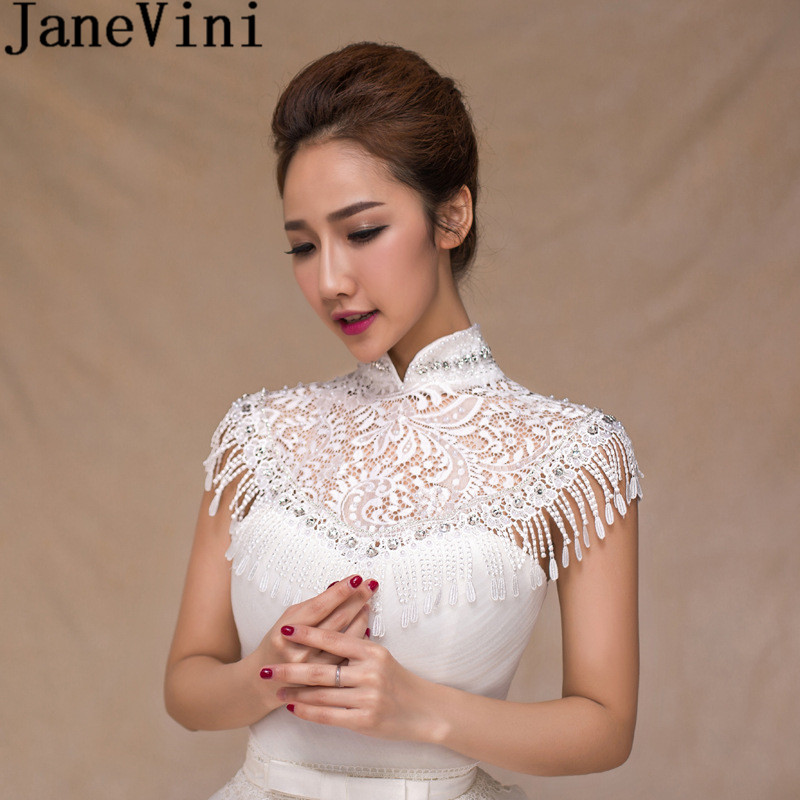 JaneVini Vintage White Lace Tassel Bridal Shoulder Chain Necklace Beaded High Neck Bride Pearl Wedding Party Chains Accessories