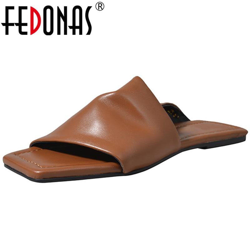 FEDONAS élégantes sandales décontractées pour femmes été véritable peau de mouton Leatehr chaussures de base peu profondes femme confortable mode pantoufles-in Sandales femme from Chaussures    1