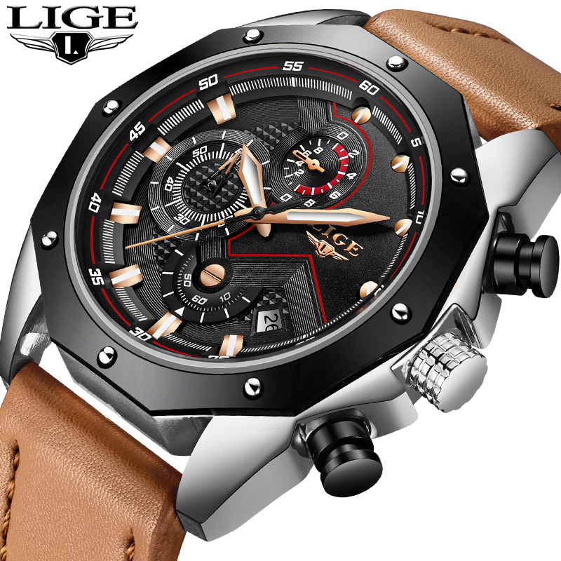 LIGE Top Brand Luxury Men Watches Military Quartz Chronograph Male Leather Clock Man Sport Army Wrist Watch Relogios Masculino megir luxury brand military watches men quartz chronograph 6 hands leather clock man sports army wrist watch relogios masculino