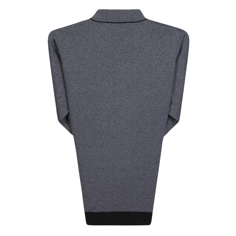 Man Spring Autumn Knitted Blouse Gray Tuen Down Collar Long Sleeve Cashmere Blend Tops Mature Man Casual Shirt Father